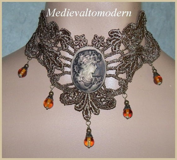 Brushed Brown Cameo with Dangel Bead Venise Lace Victorian Choker