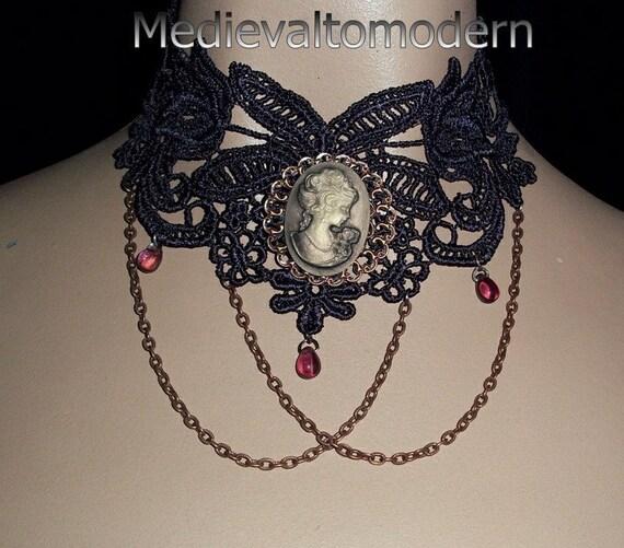 Medievaltomodern's Dark Plum Cameo Victorian Formal Lace Collar