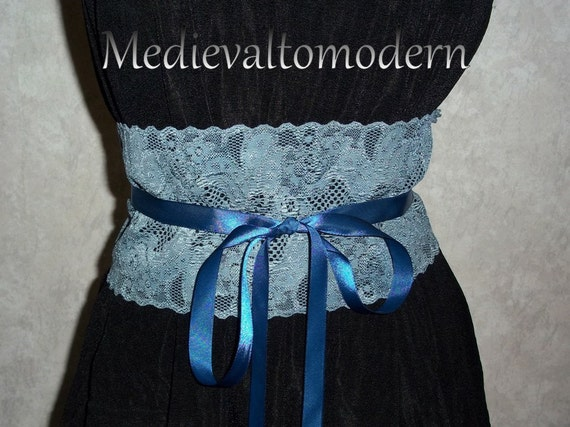 Belt Waist Cincher in Stretch Lace 4.5 WIDE Distressed Blue Long Tie Wrap Formal Prom Textile Accenting Flattering Waist Over Dress Blouse