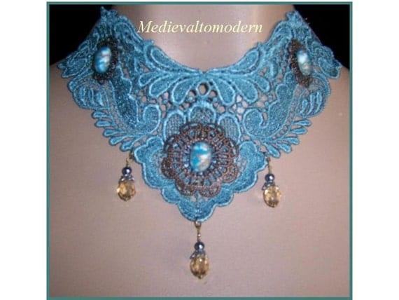 Light Green Brass Gold accent Lace Victorian Collar Choker NEW S- XL