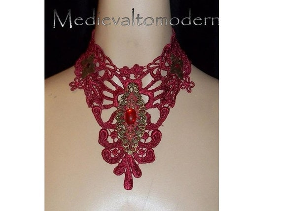 Choker in Deep Red Large Bold Brass Accent Venise Victorian Collar Wearable Art Evening Romance Scroll Soft Lace