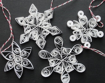 Hand Quilled Snowflake Ornaments Set of 4