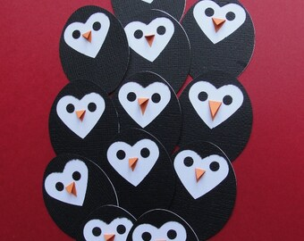 Set of Ten Handmade Penguins Embellishments for Cards or Scrapbook Layouts, Banners, Wreaths or Gift Tags