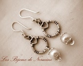 Silver Heart Earrings -  Handmade -  White Pearl -  Dangling -  Free Shipping -  Mothers Day -  2 inches
