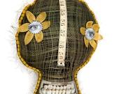 Decorative Pillow, skull, mixed media folk art, OOAK hand embroidery, burlap, felt