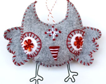 Handstiched Felt Owl Ornament - plush owl - hand embroidered owl Christmas ormanent - heather grey with white and red trim