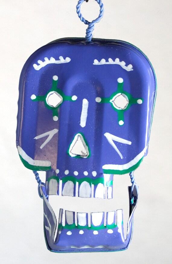 Day of the Dead Skull Folk Art, Hand Painted Sardine Tin Mexican Folk Art