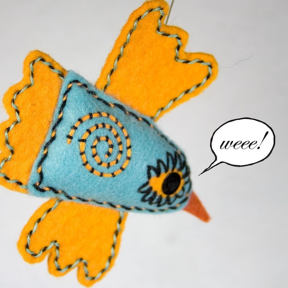 Handstiched Felt Bird Pin or Necklace, aqua and tangerine
