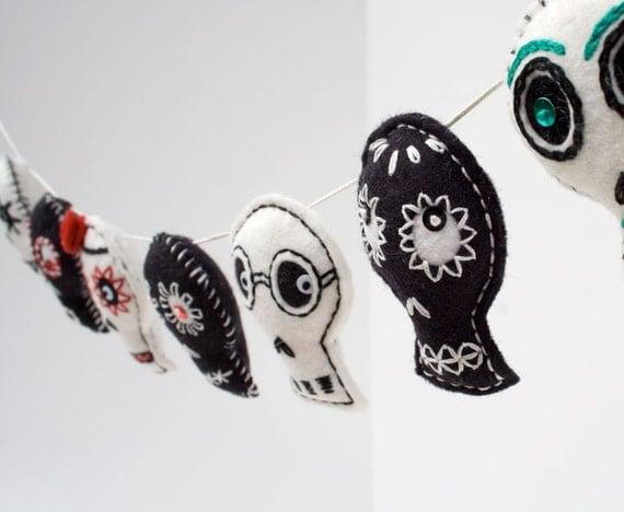 Day of the Dead Sugar Skull decoration garland, Mexican folk art