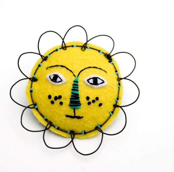 Felt Lion Face Brooch, mixed-media