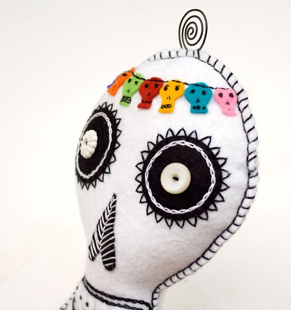Felt Sugar Skull Plush Wall Art, colorful hand embroidered