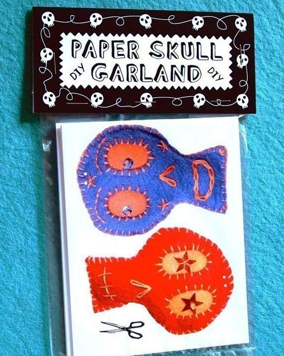 DIY Colorful Paper Skull Garland
