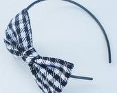 Headband / Floppy Bow / Black and White Houndstooth