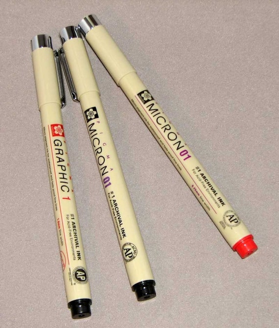 Pigma Micron Pens Set of 3 with pencil and smudger