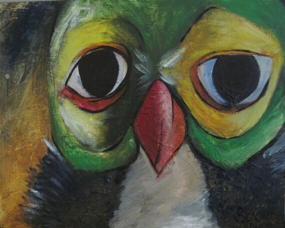 SALE 16x20 - Original - Calm Owl - Art Deco Painting