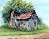 Watercolor Print- Old Rustic House- 5 x 7 inch print w/8 x 10 inch mat- Robin Martin Parrish