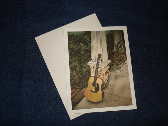 12 Daddy's Guitar Notecards\/Envelopes- 4 1\/4 x 5 1\/2- from original watercolor - Blank inside
