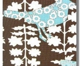 Moda Summer In The City Birds Fabric on Brown by Urban Chiks Fat Quarter