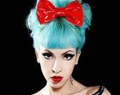 Red PVC latex high gloss shiney hair bow headband or clip