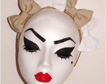 Multi-bow headband 4 x bows beige & white CROWN EFFECT hair bow