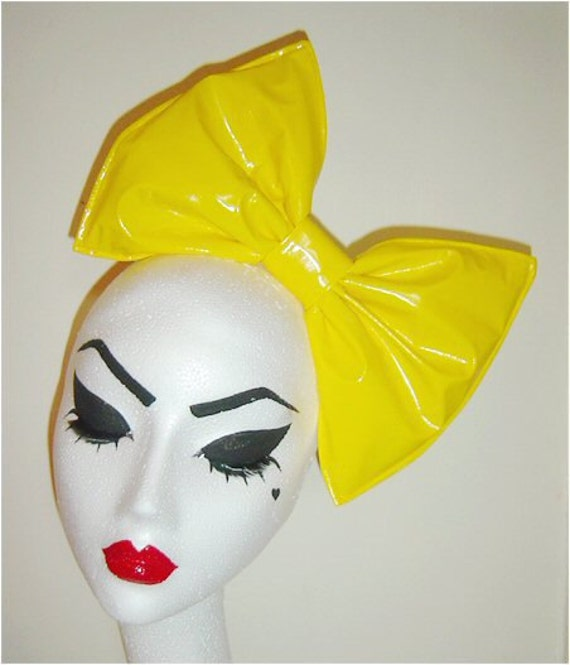 Sunshine yellow latex PVC hair bow fascinator headband or comb