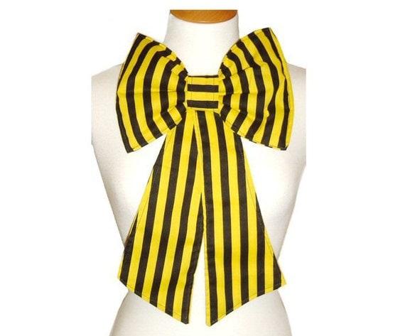 Oversized yellow black stripe Pussy bow tie brooch pin - neck tie