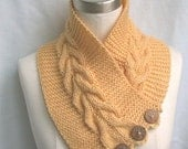 Neck Warmer Scarf Yellow Cables Buttons Hand Knit Women Ladies Teens