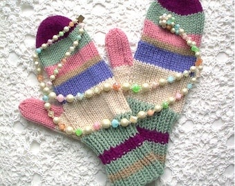 Mittens Green Purple Blue Pink Retro Hand Knit Women Ladies Teens