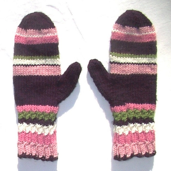 Mittens Black Pink White Green Hand Knit Women Ladies Teens