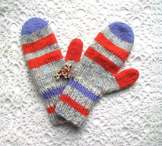 Mittens Orange Blue Tweed Retro Hand Knit Women Ladies Teens