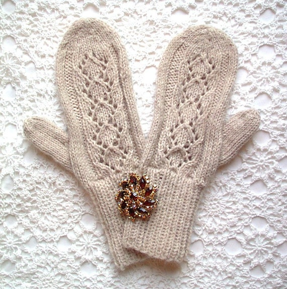 Mittens Oatmeal Off White Lace Eyelet Hand Knit Women Ladies Teens