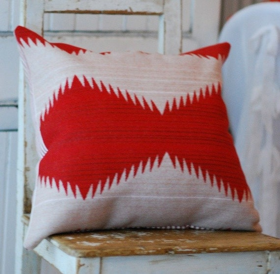 Cabin Chic Pillow Cover made with Oregons' own Pendleton Wool and Waverly Ticking Stripe 20x20