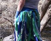 ONE day SALE - Whispering W I L L O W  - Pixie Pocket Skirt Belt Scarf Shrug Gypsy Silk Sari Lace Cotton Deep Indigo Spring Green Cyan