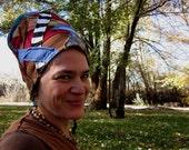 Blue M O O N - High Priestess Patchwork  Headdress Eco Upcycle