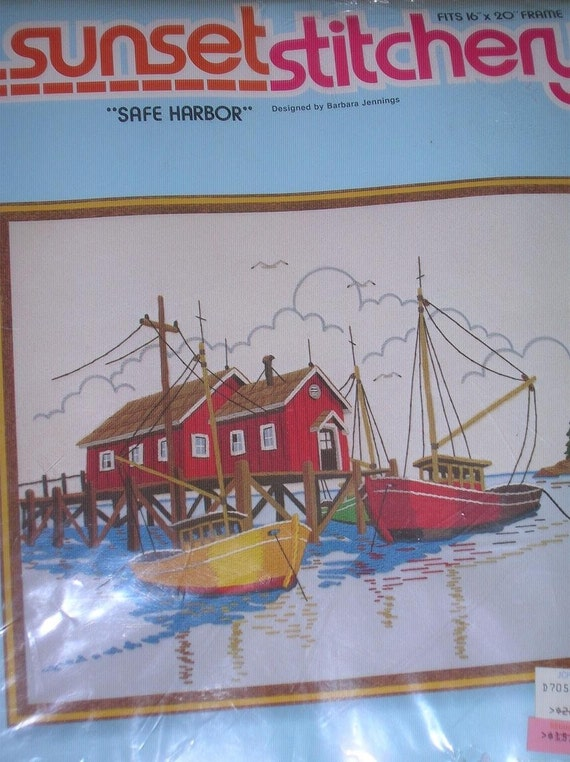 1980 Sunset Stitchery Crewel Embroidery Kit-SAFE HARBOR- Unopened