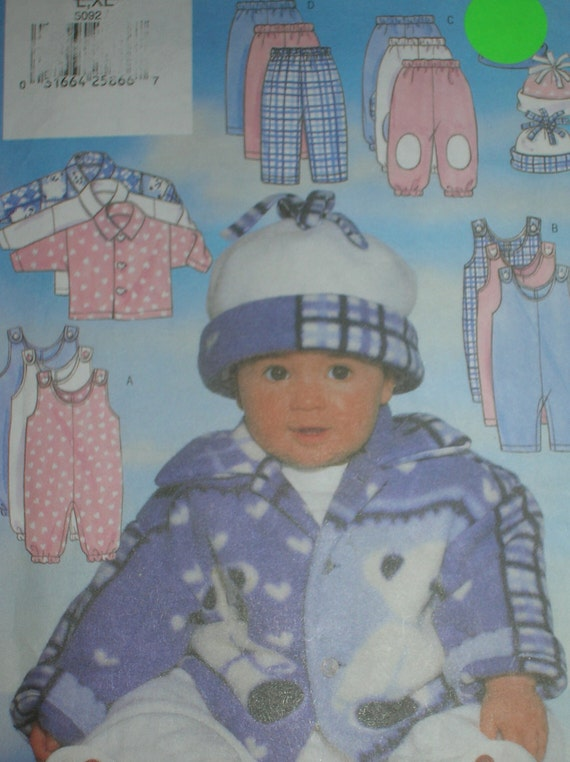 UNCUT Sewing Pattern, Butterick 5092, Easy for Babies, Jacket, Jumpsuit, Pants, Hat, weight 22-29 lbs.