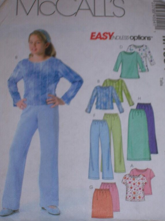 UNCUT Sewing Pattern, McCall's M4554, Girls sizes 7-8-10-12, Tops, Pants, and Skirt, all in 2 Lengths--Easy
