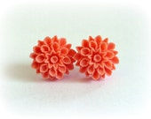 Orange Coral Resin Dahlia Flower Stud Earring for Mothers Day - Mothers Day Gift SALE - Last Pair