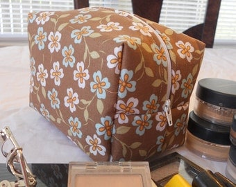 Makeup Bag - Brown with Peach and Blue Flowers