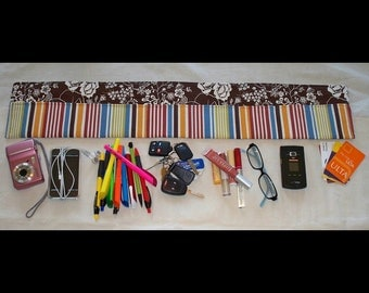 Easy-to-Use Flower and Stripe Purse Organizer - Brown and Fall Colors