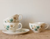 Teacups and Snack Plate-Syracuse Woodbine Leaf Pattern