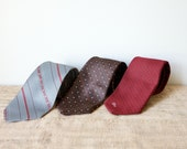 Vintage Necktie Trio-Stripes and Dots