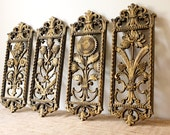 Vintage Homco Wall Plaques by Dart Industries-Gold Floral Design, Set of 4
