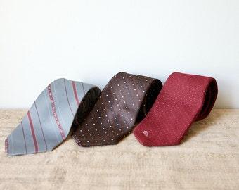 Vintage Necktie Trio-Stripes and Dots
