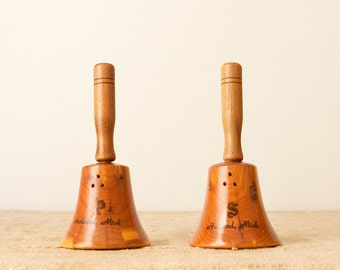 Vintage Wooden Souvenir Bell-Shaped Salt and Pepper Shakers-Holland, Michigan