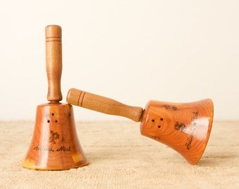 CLEARANCE Vintage Wooden Souvenir Bell Salt and Pepper Shakers