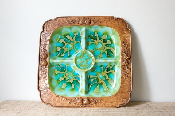 Treasure Craft by California Pottery, Chip and Dip Tray in Turquoise/Avocado