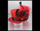 Red Mini Top Hat with Ostrich Feathers