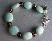 Amazonite & Smokey Quartz Sterling bracelet