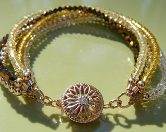 Golden Swarovski Crystal and 14KGF Bracelet
